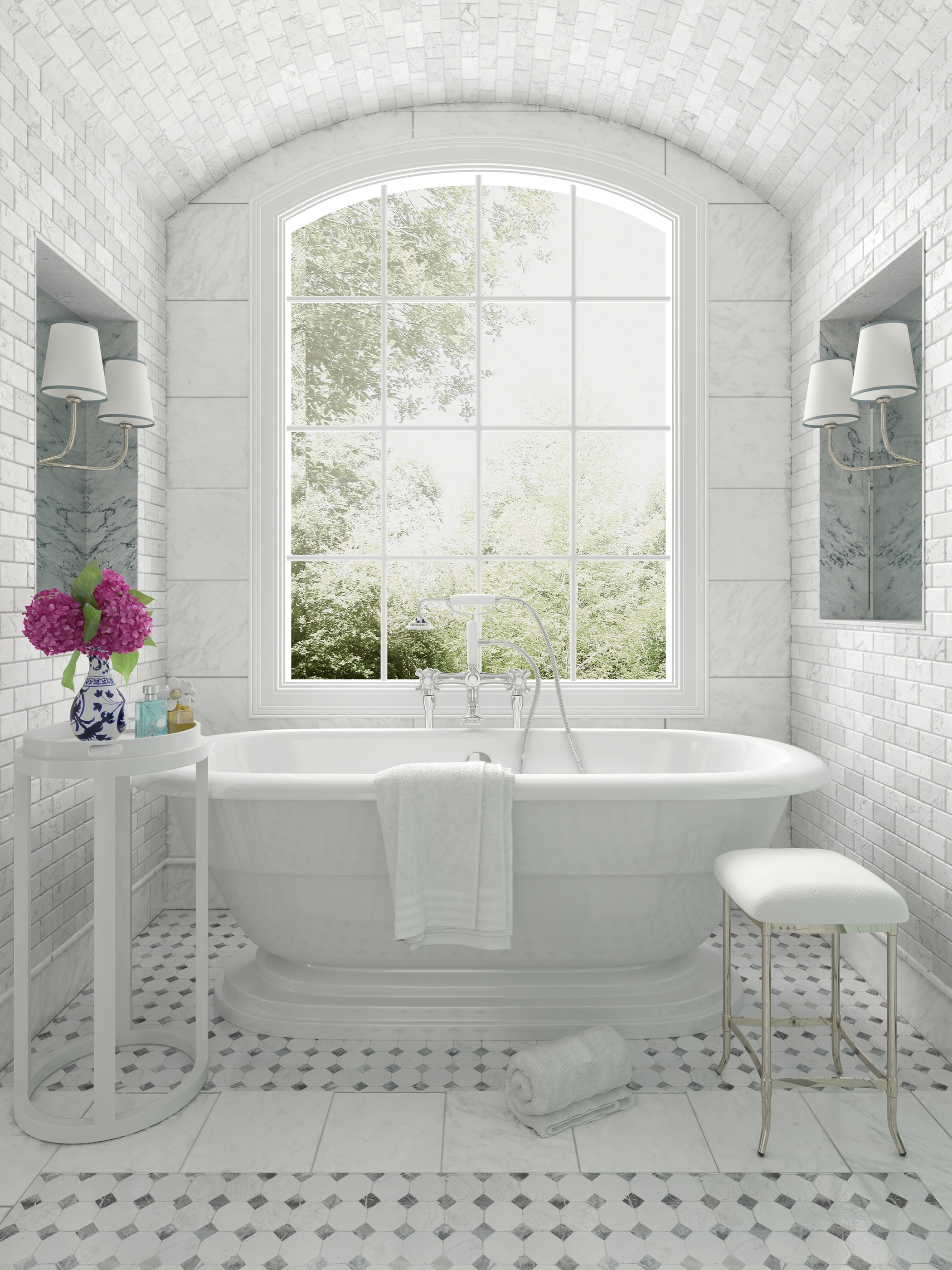 An alumhybrid architechtural whitw window in a white bathroom with a view of the outside greenery.