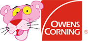 Owens corning logo with an image of the pink panther