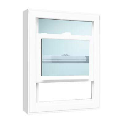 white hung window