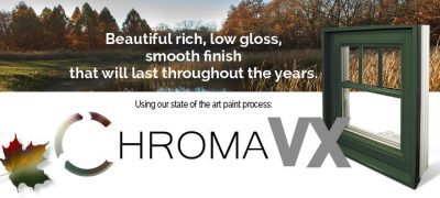 A ChromaVX banner with an autumn field in the background, a green window and a multicolored maple leaf.