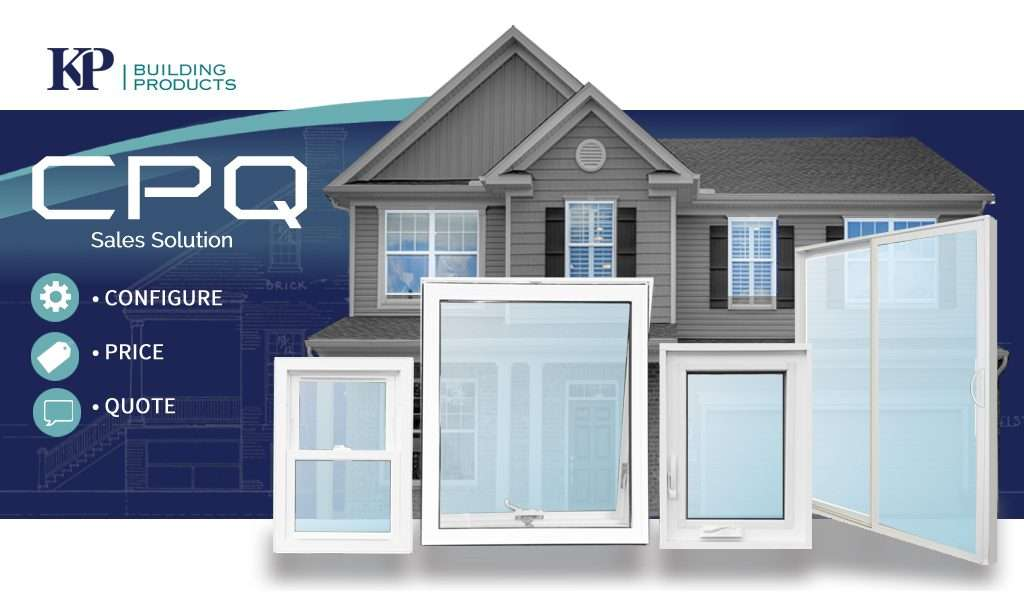 KP CPQ flyer with a gray siding house and 4 white windows.