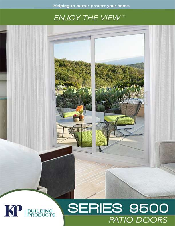 A series 9500 patio door brochure with a view on an open terrace and a patio set.