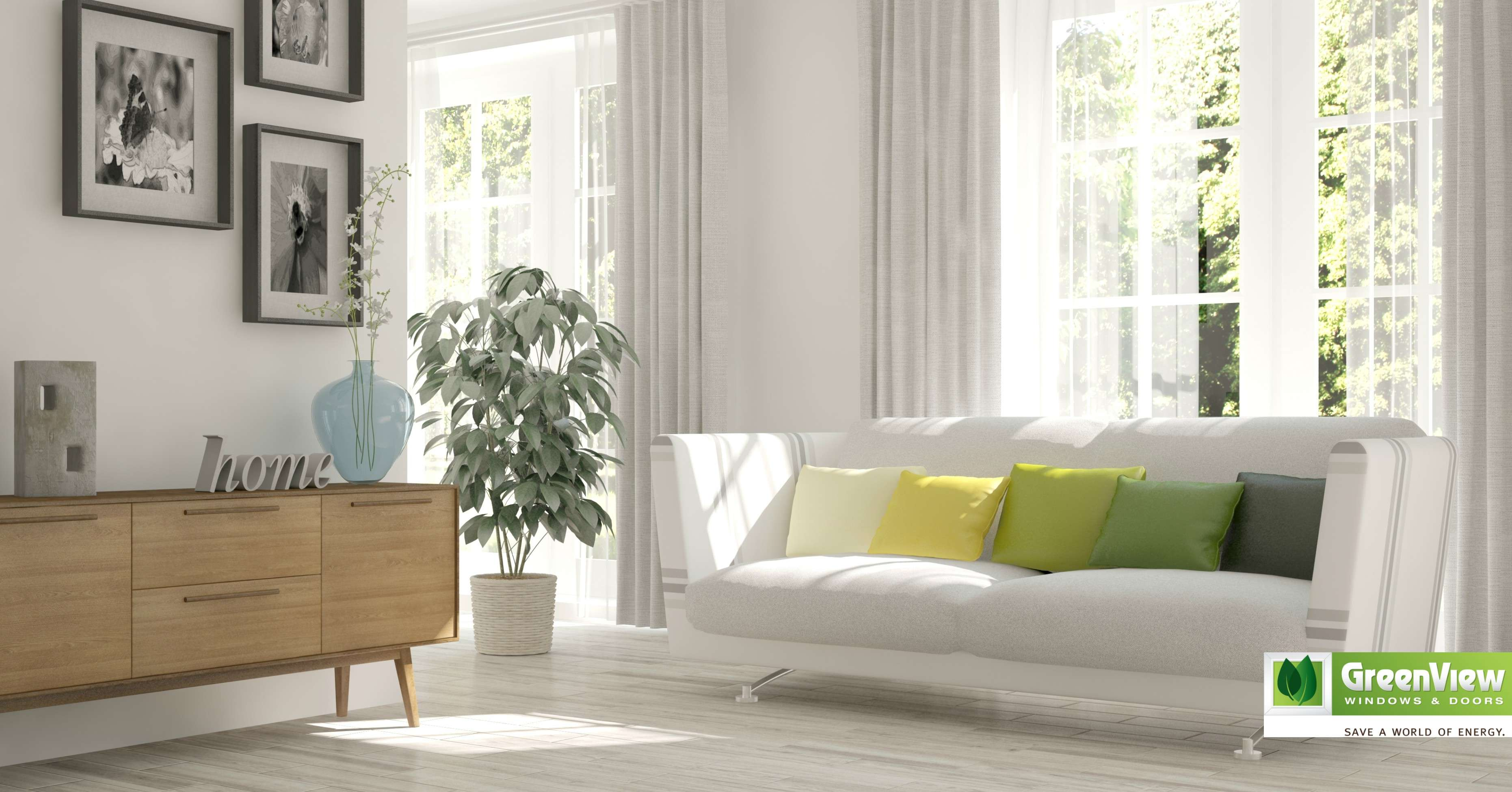 A white and bright living room with a big window covered with white curtains.