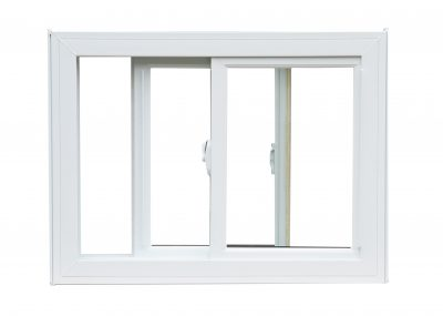 A white sliding window